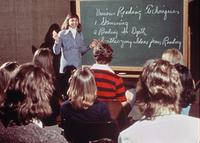 Unidentified faculty member teaching in a classroom, circa 1976