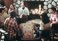 Students sitting by the fireplace in the College Center (now Christensen Center), circa 1976