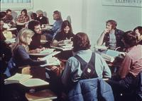 Students participating in group discussions during class in the Science Hall, circa 1976