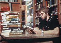 A student reading in Sverdrup Library, circa 1976