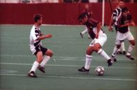 Hugo Quintiliano geos between the legs to dribble a defender, 2000.