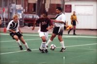 Hugo Quintiliano goes through two defenders, 2000.