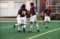 Hugo Quintiliano and his teammates celebrate the goal, 2000.