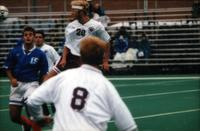 Jared Zimmerman heads the ball, 1998.