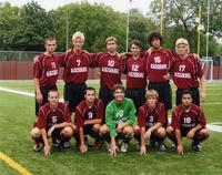 Augsburg men's soccer team posing at Edor Nelson Field, circa 2006.