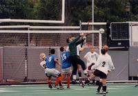 Five Augsburg players defend a corner, 1998.