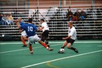 Player dribbles an opponent with a skill, 1998.