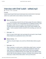 Transcript of Oral History with Chef Judah, 2019