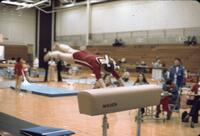 An Augsburg women's gymnastics team member jumping doing a hollow onto a hurdle, February 1977