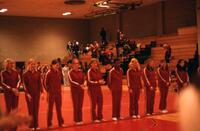Augsburg women's gymnastics team lines up, February 1975