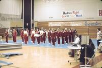 Augsburg women's gymnastics team members lined up on a mat in teams, February 1977