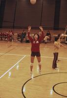 Action shot of an Augsburg women's volleyball team player, October 1975
