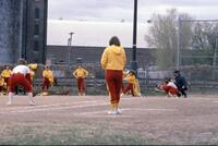 Augsburg women's softball team defending, April 1976