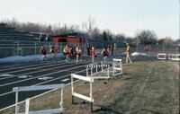 Augsburg women's track and field team racing, April 1975