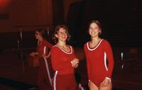 Augsburg women's gymnastics team smiling for picture, February 1975
