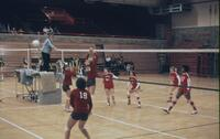 A volleyball about to score on the Augsburg side, November 1975