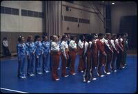 Augsburg women's gymnastics team lined up on a mat, March 1979