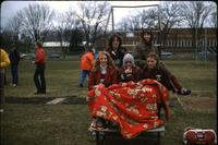Augsburg women's track and field team runners posing for a photo, April 1978