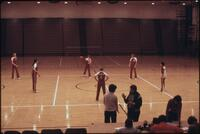 Augsburg women's basketball team practicing passing the ball, February 1978