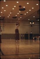 Women's basketball shooting a shot at the free-throw line, March 1979
