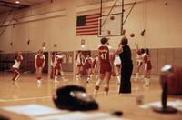 Augsburg women's basketball team practicing shooting, February 1978
