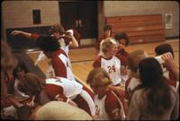 Augsburg women's basketball team getting ready for a game, February 1978