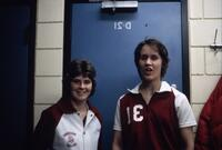 """Bobby Jo"" and a basketball team player posing for a photo, circa 1978"