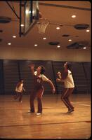Augsburg women's basketball team practicing shooting, March 1979