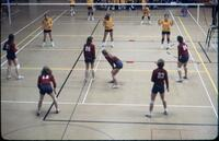 Augsburg women's volleyball team taking a break in their positions, November 1977