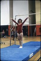 "An Augsburg women's gymnastics team member doing a ""Ta-Da"" stance, March 1978"