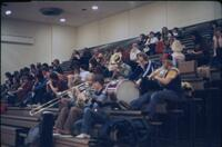 Augsburg band performing in the bleachers, February 1978