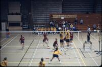 Rival volleyball team soft returning the ball, November 1977