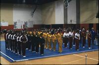 Various gymnastics teams lined up, March 1978