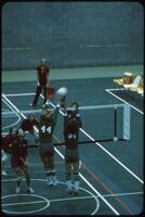Augsburg women's volleyball team guarding a return ball from the rival team, November 1978
