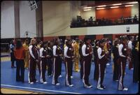 Women's gymnastics team lined up for the State gymnastics meet, March 1978
