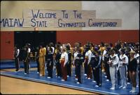 Augsburg women's gymnastics team at the MAIAW state gymnastics championship, March 1979