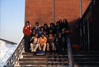 Augsburg women's basketball team sitting for a group photo, circa 1979