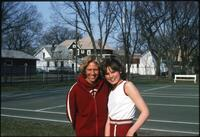 Augsburg women's tennis team players smiling for a photo, circa 1979
