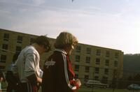 Augsburg women's tennis team players before a match, 1981.