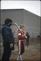An Augsburg women's softball team batter in a game, 1982.