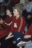 Augsburg women's volleyball team players on the bench, 1982.