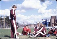 Augsburg men's track and field team members get ready for an event, 1982.