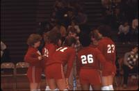 Augsburg women's volleyball team players listen to their coach, October 1983