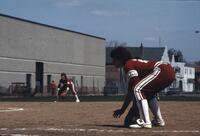 Augsburg women's softball infielder hunched over, May 1983
