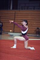 An Augsburg women's gymnastics team member doing floor routine, March 1983