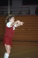 An Augsburg women's basketball player dances, February 1983