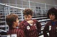 Augsburg women's soccer team players get together to talk, 1986.