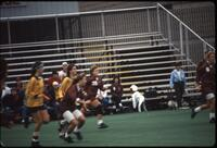 Augsburg women's soccer team players play in a game, 1986.