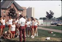 Augsburg's track and field team get together for a team picture, 1986.