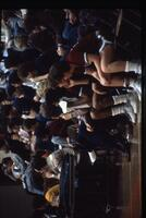 Augsburg women's basketball team players sit on the bench and watch the game, 1987